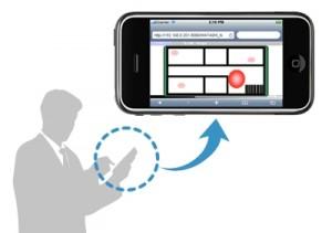 スマートフォンに位置検知結果を表示するイメージ(出典:日立ソリューションズ)