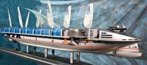 模型展示する未来のコンテナ船「NYKスーパーエコシップ2030」