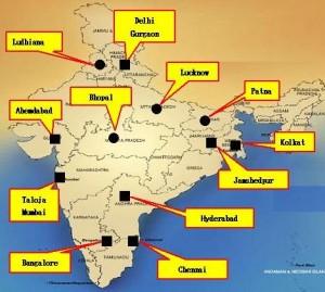インド法人の倉庫展開(■が既存倉庫、●が新設倉庫)