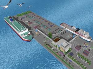 新港第3突堤の新ターミナル完成予想図