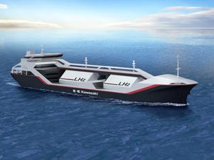 川崎重工、液化水素船向け貨物格納設備で基本承認 川崎重工業は6日、液化水素運搬船に搭載する貨物格