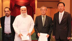 左からエクスポランカ社のハニフ・ユソーフCEO、オスマン・カシム会長、SGホールディングス・グローバルの川崎直介社長、SGホールディングスの近藤信明代表取締役。
