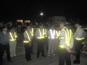 路線連盟、養老SAで点呼・点検実証パトロール