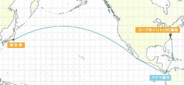 ▲米国コーブポイントプロジェクト トレーディングルート イメージ図 (出所:商船三井)