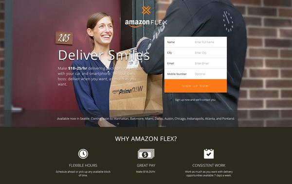 米アマゾン、誰でも宅配に参加「AmazonFlex」を開始