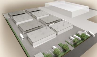 ▲左側8棟が危険物倉庫群、右側奥はプロロジスから賃借する一般倉庫
