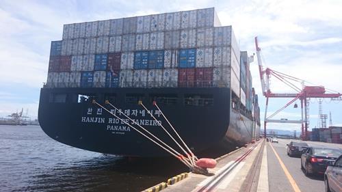 韓進海運の北米航路コンテナ船、2年ぶりに大阪入港