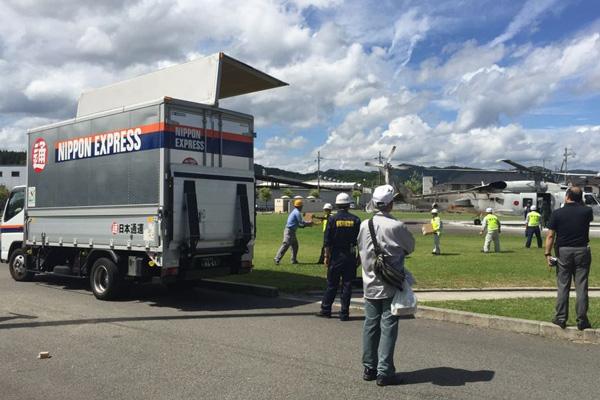 京都府ト協、車両とヘリの救援物資輸送訓練に参加2