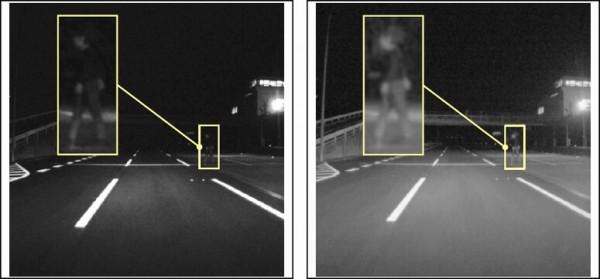 デンソーの車載用画像センサー、夜間の歩行者認識可能に