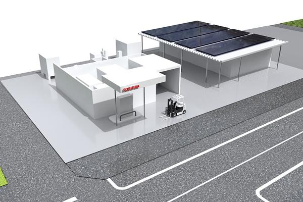 東芝、燃料電池フォークの充てん施設モデルを建設