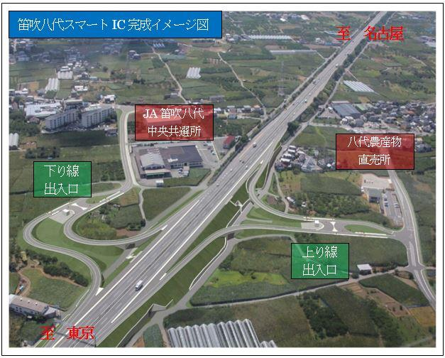中央自動車道笛吹八代IC、3月26日開通