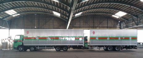 福通が21mトレーラ実験に参加、積載量大型2台分