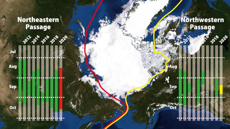 北極海航路、ロシア側で海氷融解早まる見込み