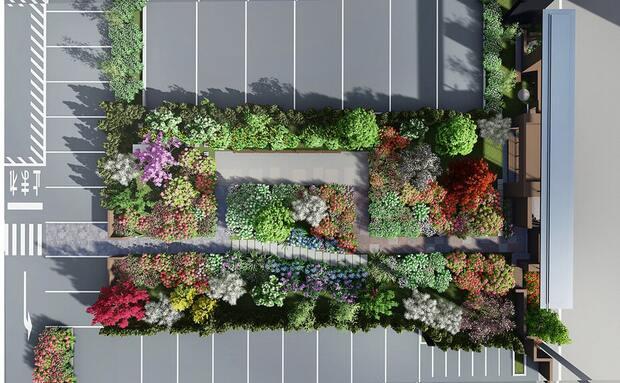 待合所と本館の間の「四季の庭」