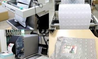 生産性6倍の梱包出荷機、毎時400個の梱包と伝票貼付